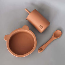 Load image into Gallery viewer, Silicone Bear Bowl & Spoon - Brick