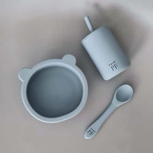 Afbeelding in Gallery-weergave laden, Silicone Bear Bowl & Spoon - Misty