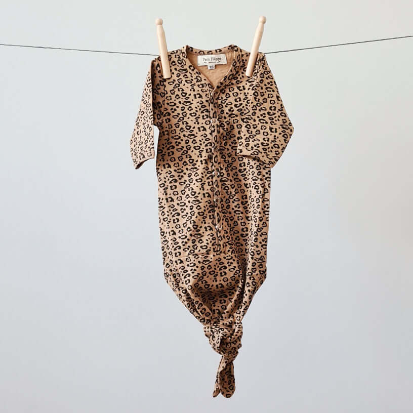 Newborn - Knotted Sleep Gown - Leopard