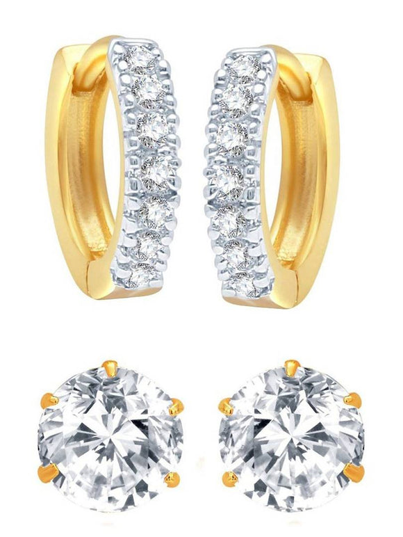American Diamond Gold Plated Combo of Hoop and Stud Earrings