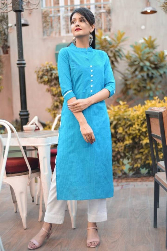 Cotton Solid Kurta With Thread Work