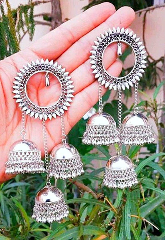 Alluring Oxidized Metal Earring