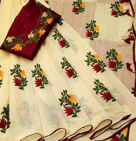 Trendy Chanderi Silk Embroidered Saree with Blouse piece