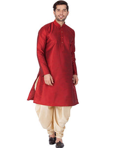 Men's Maroon Cotton Silk Kurta Sets