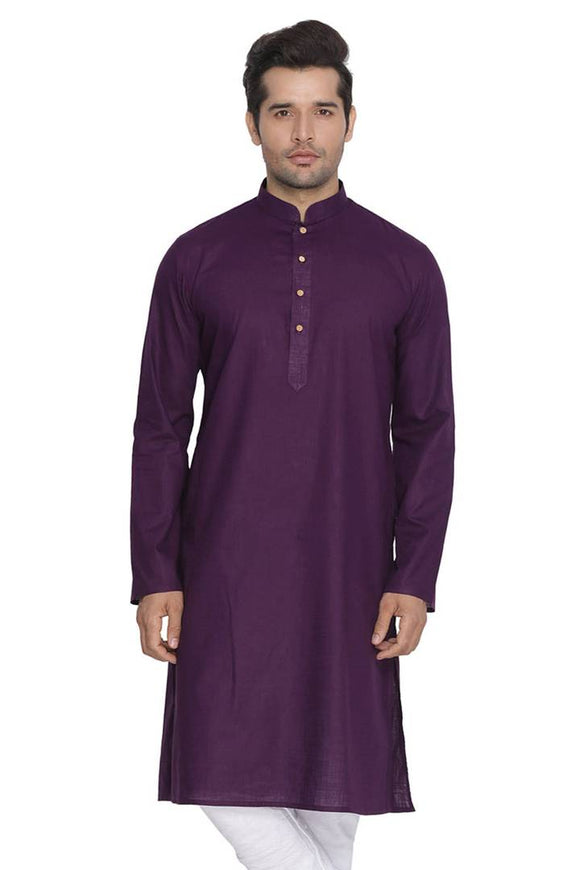 Men's Purple Cotton Kurta