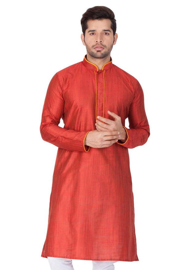 Men's Maroon Cotton Silk Kurta
