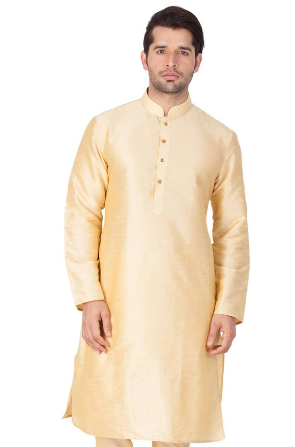 Men's Golden Cotton Silk Kurta