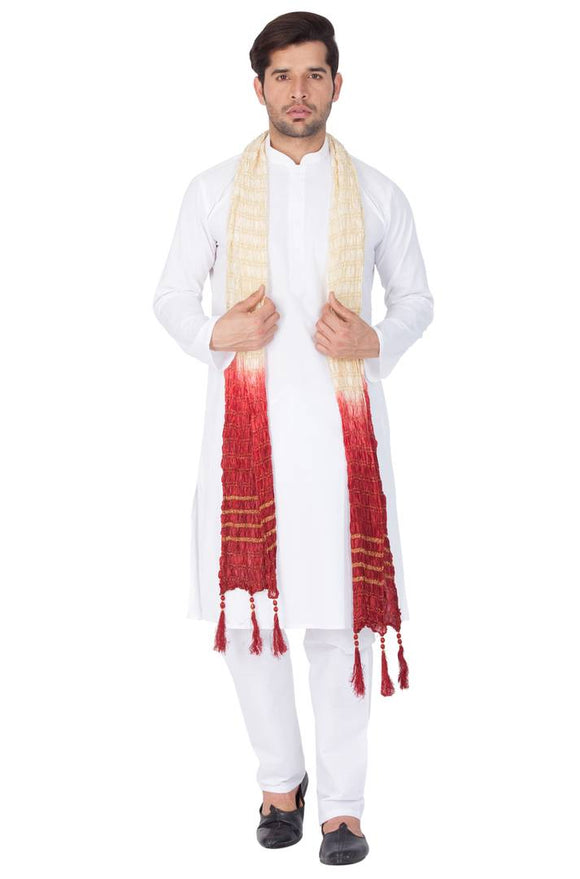 Men's White Cotton Kurta, Pyjama and Dupatta Set