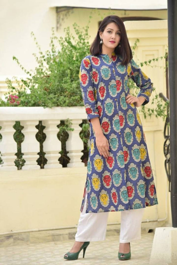 Elite Blue Printed Cotton Women A-Line Kurti