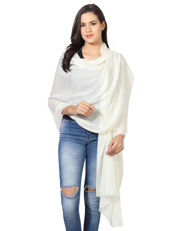 Super Fine Blended Ultra Soft & Warm Wool Silk Unisex Pashmina Shawl,  Stole & Wrap with Hanger (Cream white)
