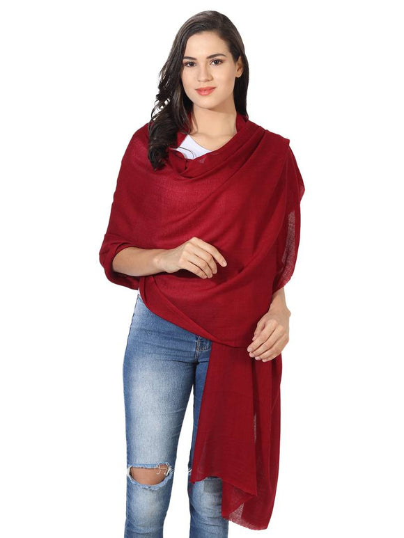 Super Fine Blended Ultra Soft & Warm Wool Silk Unisex Pashmina Shawl,  Stole & Wrap with Hanger (Maroon)
