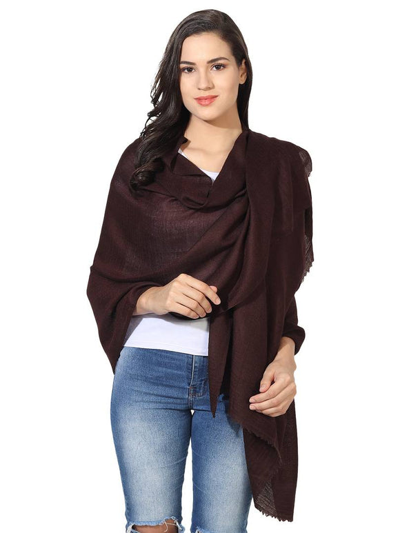 Super Fine Blended Ultra Soft & Warm Wool Silk Unisex Pashmina Shawl,  Stole & Wrap with Hanger (Chocolate Brown)