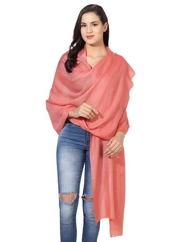 Super Fine Blended Ultra Soft & Warm Wool Silk Unisex Pashmina Shawl,  Stole & Wrap with Hanger (Peach)