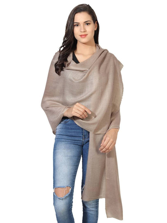 Super Fine Blended Ultra Soft & Warm Wool Silk Unisex Pashmina Shawl,  Stole & Wrap with Hanger (Tan)