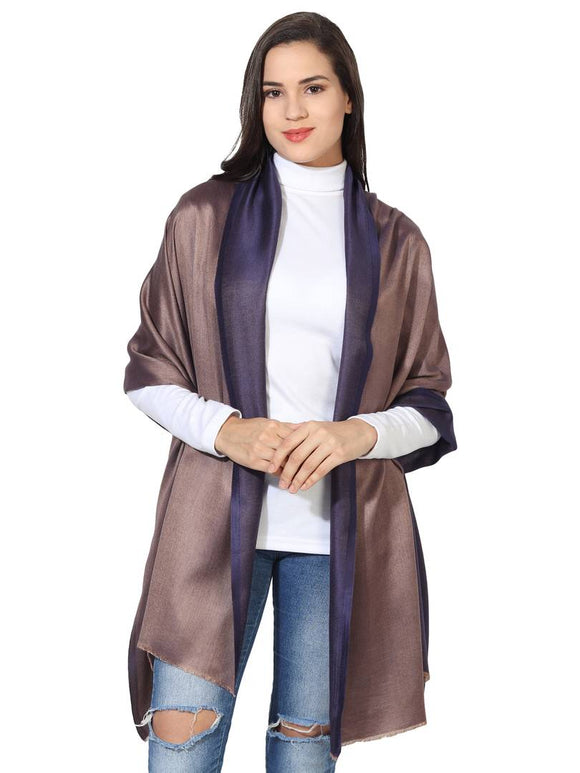 Super Fine Soft Women's Mudal Reversible Scarf, Stole & Wrap with Hanger (Dark Blue & Brown )