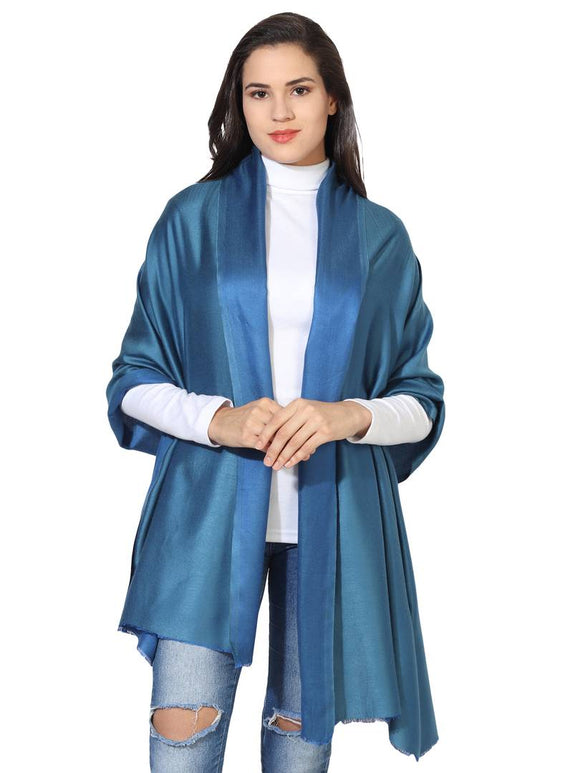 Super Fine Soft Women's Mudal Reversible Scarf, Stole & Wrap with Hanger (Dark Sky Blue & Navy Blue )