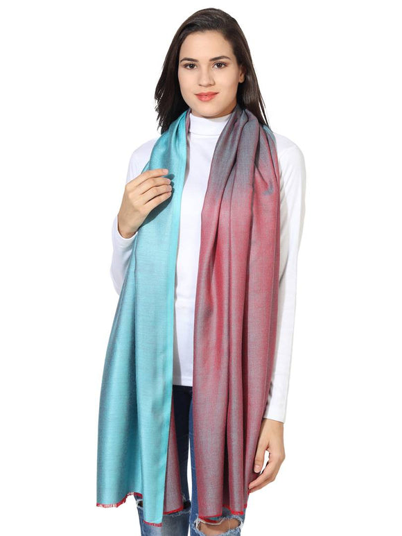 Super Fine Soft Women's Mudal Reversible Scarf, Stole & Wrap with Hanger (Turquoise & Red )