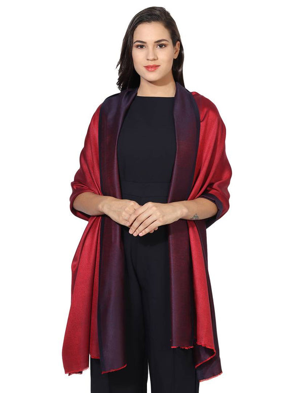 Super Fine Soft Women's Mudal Reversible Scarf, Stole & Wrap with Hanger (Maroon & Red )