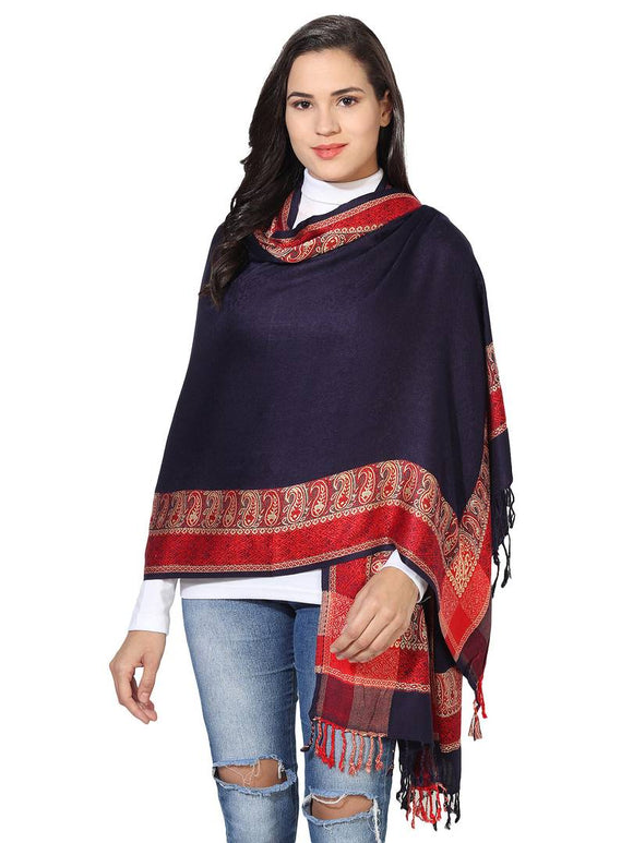 Women's Silky Pashmina Jacquard Weave with Paisley Borders Viscose Scarf, Stole & Wrap (Blue-Red)