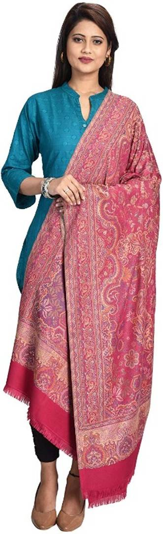 Women's Woven Shawl in Wool Blended Fabric, Jamawar Pattern in Staple Thread