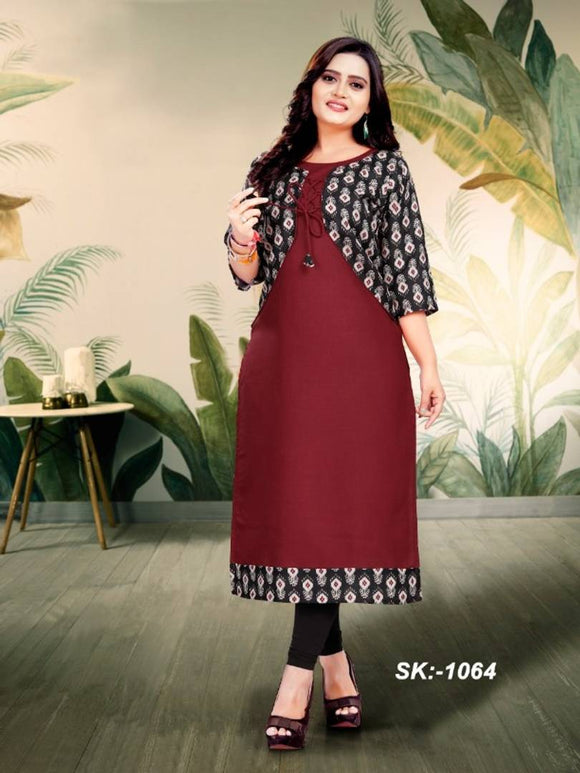 Elegant Maroon Ruby Cotton Digital Print Women Kurti with Jacket