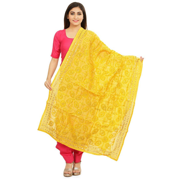 Women's Multicoloured Chanderi Silk Embroidered Dupattas