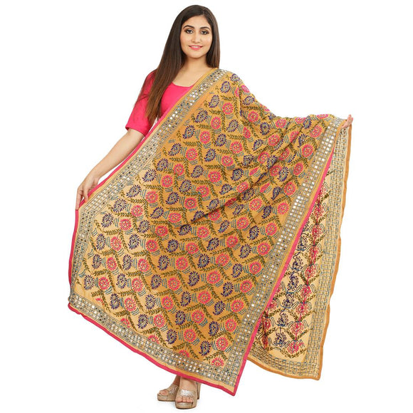 Women's Multicoloured Chiffon Embroidered Dupattas