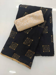 Versatile Chiffon Zari Lace Work Saree With Jacquard Blouse Piece