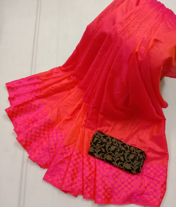 Women's Beautiful Solid Silk Blend Saree with Blouse piece