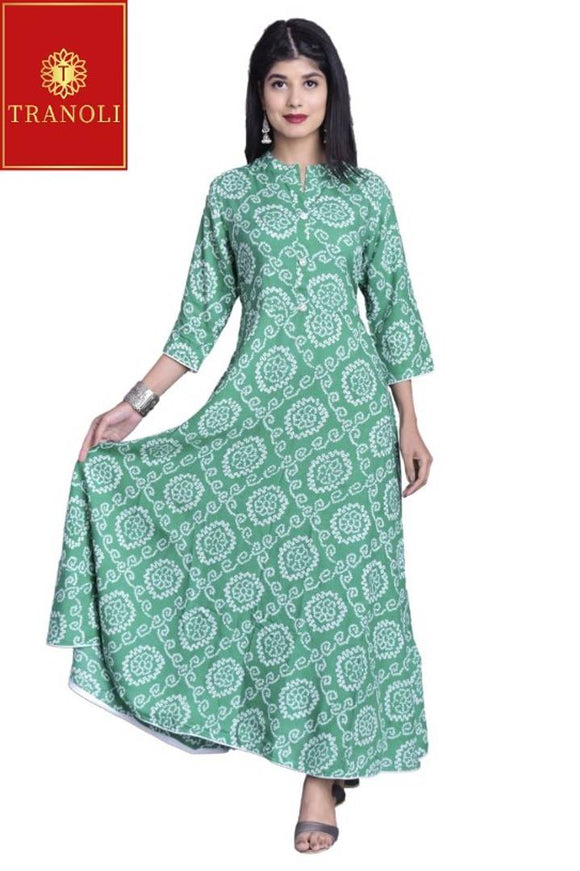 Stylish Rayon Printed Anarkali Kurta