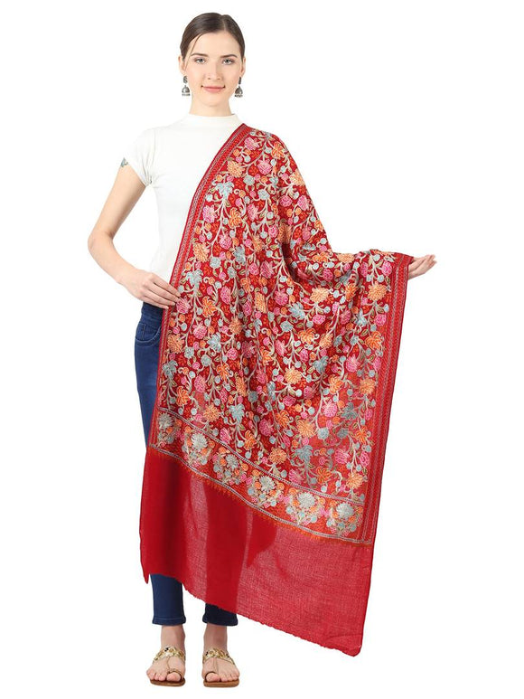 Women's Pashmina super Fine Wool(120 Wool Tread Count)  Nalki Embroidery Needle work Stole, Scarf  & Wrap