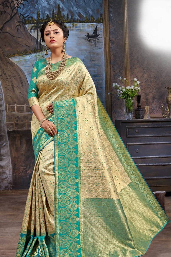 Women's Beautiful Golden Paithani Poly Silk Saree with Blouse piece