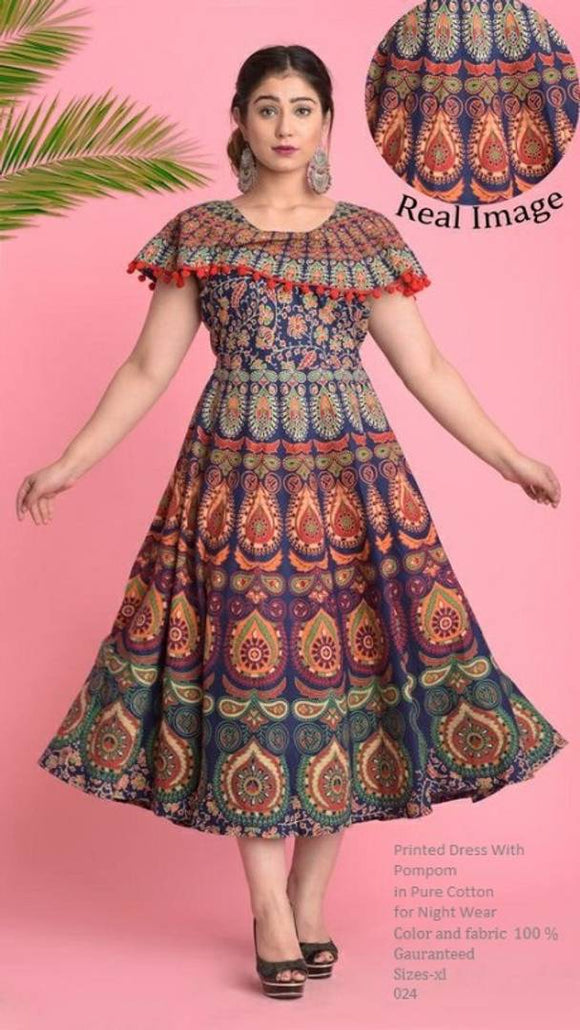 Designer Cotton Jaipuri Printed Anarkali Kurti For Women