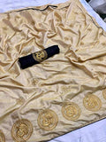 Women's Beautiful Sana Silk Embroidered Saree with Piping and Blouse Piece