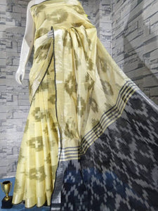 Handloom Cotton Slub Ikkat Woven Saree with blouse Piece