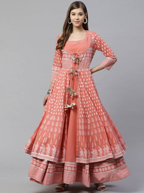 Women Peach-Coloured Gotta Patti Printed Cotton Anarkali With Long Ethnic Jacket