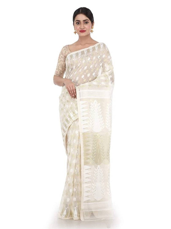 Women Jamdani Cotton Saree without Blouse piece