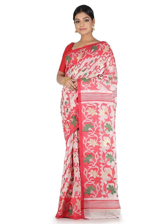 Women Soft Jamdani Cotton Saree without Blouse Piece