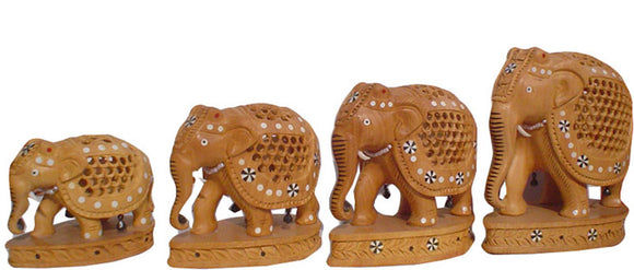Crafts of India : Wooden Elephant Family with Inlay work and Heavy Carving