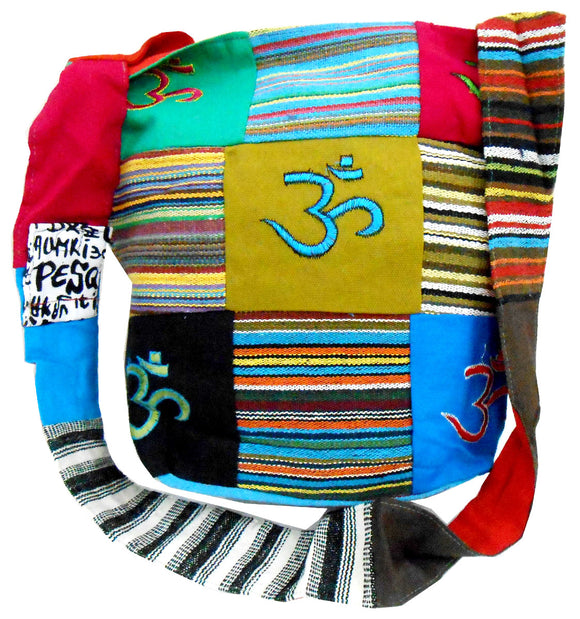 Ethnic Aum/Om Patchwork Handmade Embroidered Shoulder Bag Yoga Sling Large Boho Bohemian Hippie Tote Gypsy Beach Bag