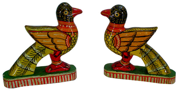 Crafts of India : Wooden Colorful Birds Pair
