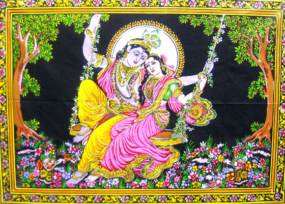 Crafts of India Radha Krishna on Swing Cotton Wall Hanging Tapestry : Size 43