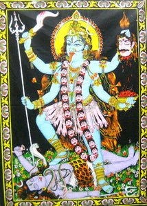 "Crafts of India Goddess Religious Kali Cotton Wall Hanging Yoga Tapestry : Size 43""x30"" Inches"