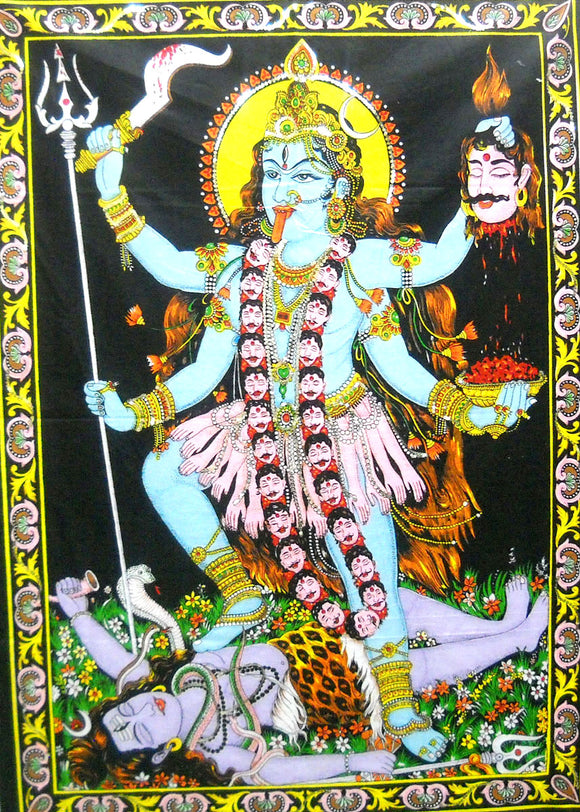 Crafts of India Goddess Religious Kali Cotton Wall Hanging Yoga Tapestry : Size 43