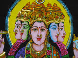 "Crafts of India Goddess Gayatri Sequins Cotton Batik Wall Hanging Tapestry : Size 43""x30"" Inches"