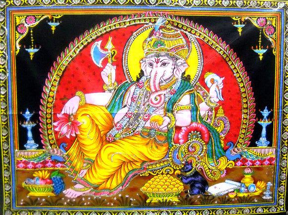 Crafts of India Ganesha/Ganpati Religious Cotton Wall Hanging Tapestry : Size 43
