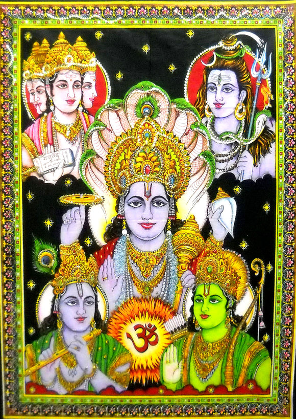 Crafts of India Panchdev : Lord Vishnu, Shiva, Brahma, Krishna, Rama Wall Tapestry Religious Yoga : Size 43