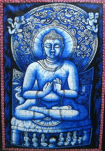 "Crafts of India Lord Buddha Religious Batik Cotton Wall Hanging Tapestry : Size 43""x30"" Inches"