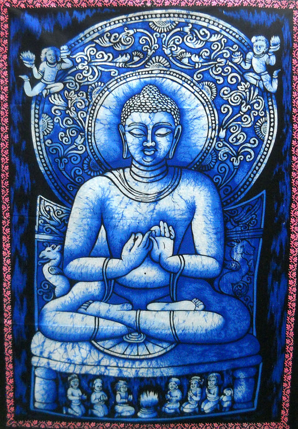 Crafts of India Lord Buddha Religious Batik Cotton Wall Hanging Tapestry : Size 43