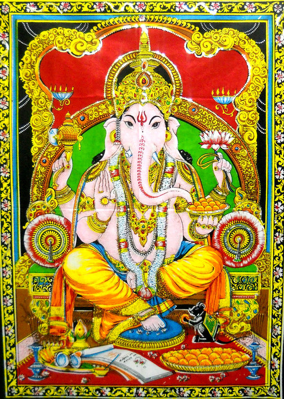 Crafts of India Ganesha/Ganpati Batik Cotton Wall Hanging Tapestry : Size 43